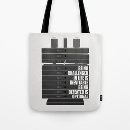 Lab No. 4 -Being Challenged In Life Is Inevitable Gym Motivational Quotes Poster Tote Bag