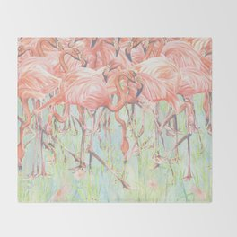 Flamingo Meadow Throw Blanket