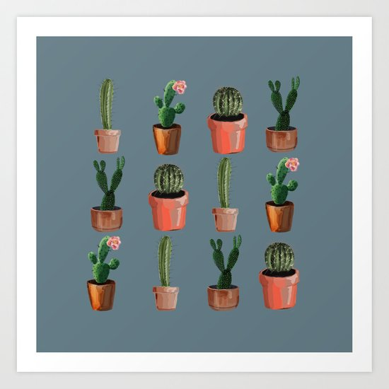 Various Cacti Blue Art Print