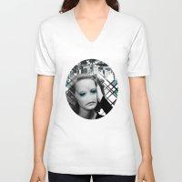 sad V-neck T-shirts featuring sad by Rosa Picnic