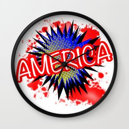America Red White And Blue Cartoon Exclamation Wall Clock