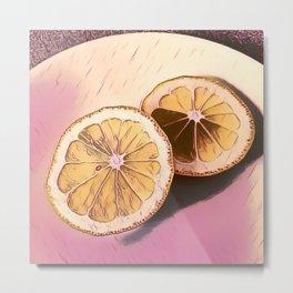 Lemon Study on Pink Metal Print