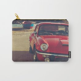 Triumph spitfire, english car by the beach in italy, old car and a boat, for man cave decor Carry-All Pouch