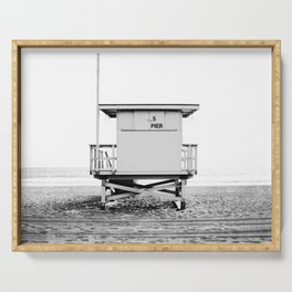 Beach Photography black and white print Serving Tray