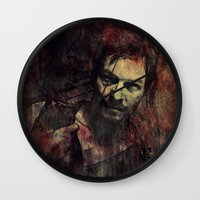 daryl dixon Wall Clocks featuring Daryl Dixon by Sirenphotos