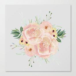 Wild Roses on Light Gray Canvas Print