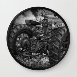 Abandoned Old Farmall Tractor in Black and White Wall Clock