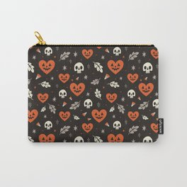 I Heart Halloween Pattern (Black) Carry-All Pouch