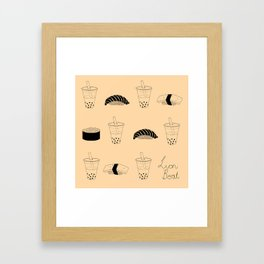 Bubble tea and sushi Framed Art Print