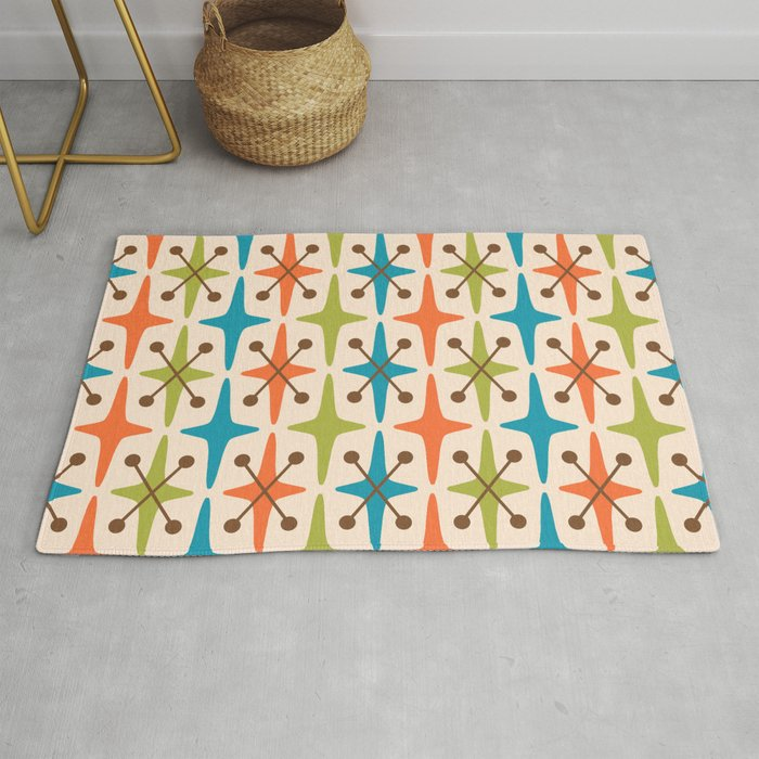Mid Century Modern Abstract Star Pattern 441 Orange Brown Turquoise Chartreuse Rug