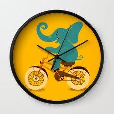 Elephant on the bike Wall Clock