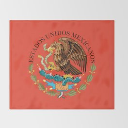 Mexican seal on Adobe red Throw Blanket