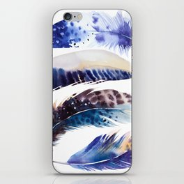 four feathers in blue iPhone Skin