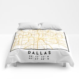 DALLAS TEXAS CITY STREET MAP ART Comforters