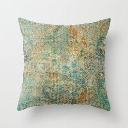 Aged Damask Texture 16 Throw Pillow