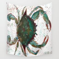 crab Wall Tapestries featuring Crab by LEIGH ANNE BRADER