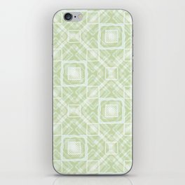 White, light green geometric pattern. iPhone Skin