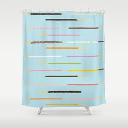 21 Flavors of Pocky - blue Shower Curtain