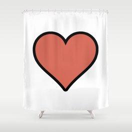 Bold Living Coral Heart Shape Digital Illustration, Minimal Art Shower Curtain