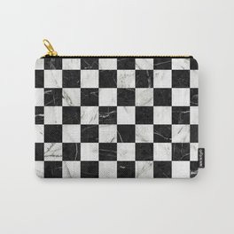 Marble Checkerboard Pattern - Black and White Carry-All Pouch
