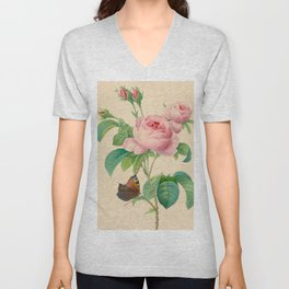 Selection of the most beautiful flowers Pink Rose - Pierre-Joseph Redouté - 1827 Unisex V-Neck