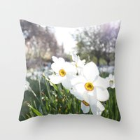 flora Throw Pillows featuring Flora by Kakel-photography