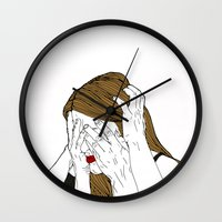 introvert Wall Clocks featuring Introvert 7 by Heidi Banford