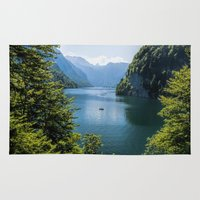germany Area & Throw Rugs featuring Germany, Malerblick, Koenigssee Lake III by UtArt
