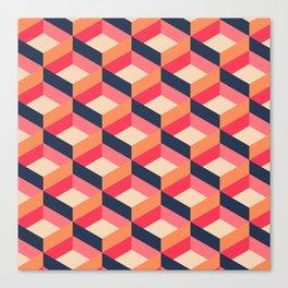 Retro Geo - Navy & Pink Canvas Print