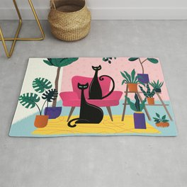 Sleek Black Cats Rule In This Urban Jungle Rug