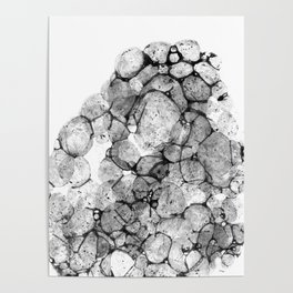 Watercolor abstract bubble splashing paint black gray ink isolated on white background Poster