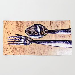 Forks and knives Beach Towel