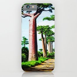 The Disappearing Giant Baobab Trees of Madagascar Landscape Painting iPhone Case