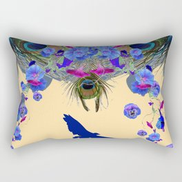 BLUE MORNING GLORIES & FLYING BLUE BIRD ART Rectangular Pillow