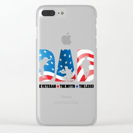 Mens Dad The Veteran The Myth The Legend print Cool Soldier Gift Clear iPhone Case