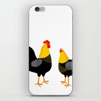 cock iPhone & iPod Skins featuring COCK & HEN by Riku Ounaslehto