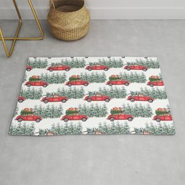 Corgis in car in winter forest Rug