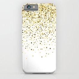 Glam gold glitter confetti design iPhone Case