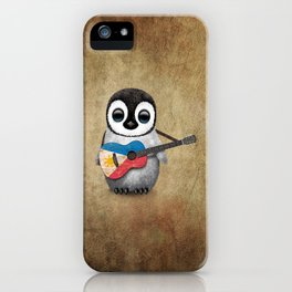 Baby Penguin Playing Filipino Flag Acoustic Guitar iPhone Case