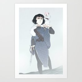 necromancer and her companion Art Print