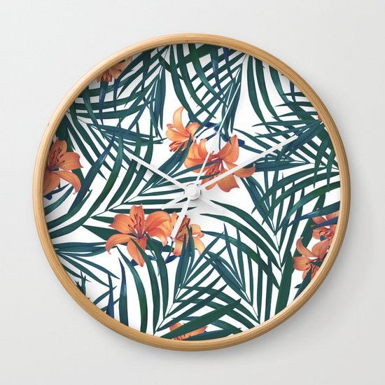 Tropical Lilies Wall Clock