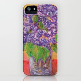 Bouquet of lilac flowers in a glass vase on an orange background iPhone Case