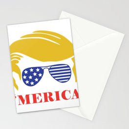 Merica 2020, trump hair style, american flag Stationery Cards