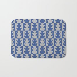 Art Deco Jagged Edge Pattern Blue and Gray Bath Mat