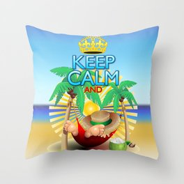 Keep Calm and...Relax on Hammock! Throw Pillow