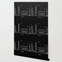 Seoul Minimal Nightscape / Skyline Drawing Wallpaper