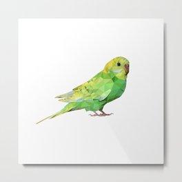 Geometric green parakeet Metal Print
