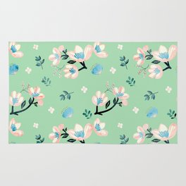 Be who you want to be - flowers and mint Rug