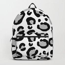 Silver Glitter Leopard Spots Pattern Backpack