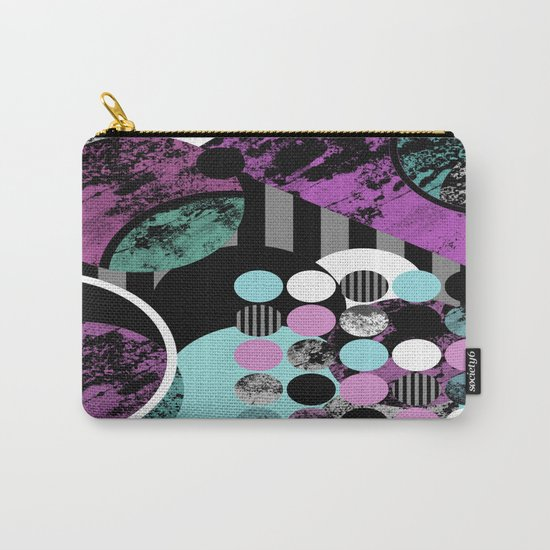 Bits N Pieces II - Abstract, geometric, textured, stripes, cyan, blue, pink, black, artwork Carry-All Pouch